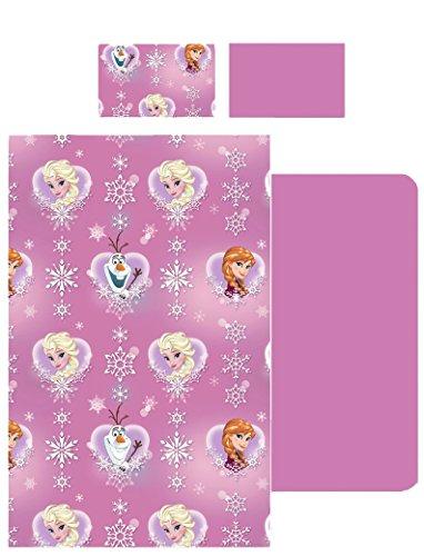 comprare on line completo letto lenzuola singolo FROZEN DISNEY rosa sopra sotto e federa 100% cotone prezzo