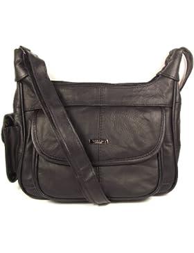 Cinturino in vera pelle Ladies medio borsetta lunga nero, croce il corpo, messenger bag.
