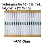 Widerstand 470 Ohm, 20 Stück, Metallschicht 0.6W 1% Metallfilm Widerstände