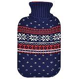 JEMIDI Wärmflasche 2 Liter im Weihnachtsdesign Wärmflaschen Bezug Strick Weihnachten