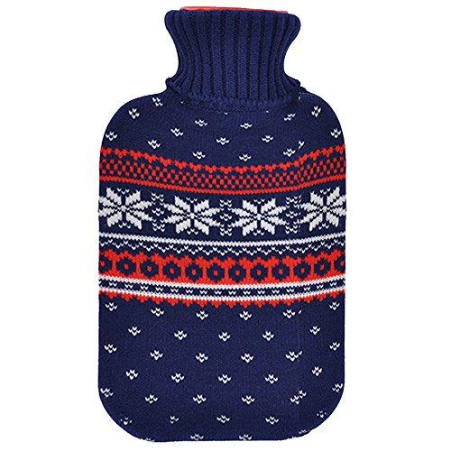 JEMIDI Wärmflasche 2 Liter im Weihnachtsdesign Wärmflaschen Bezug Strick Weihnachten Bettflasche (Blau)