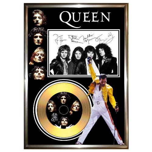 GoldDiscDisplays - Quadro da parete, soggetto: disco d'oro dei Queen, con foto e autografo di Freddie Mercury (riproduzione)