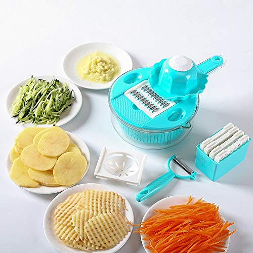 Gemüse Chopper Aufschnittmaschine, Rostfreier Stahl Gemüseschneider Kartoffelschäler Karotten Zwiebel Reibe, Küchenzubehör,Blue