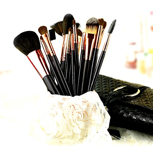 diolee Pro Make-up Pinsel-Set mit synthetischen & Pony Haar mit Pouch Bag – 18 Zählen (Zählen Make-up)