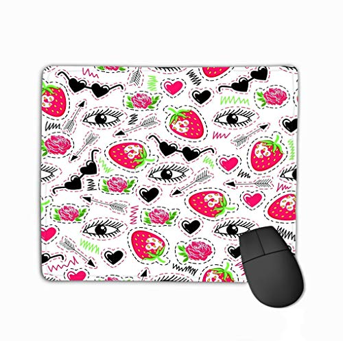 Mouse Pad Bright Eyes Strawberry Arrow Roses Sunglasses Hearts trendy Rectangle Rubber Mousepad 11.81 X 9.84 Inch