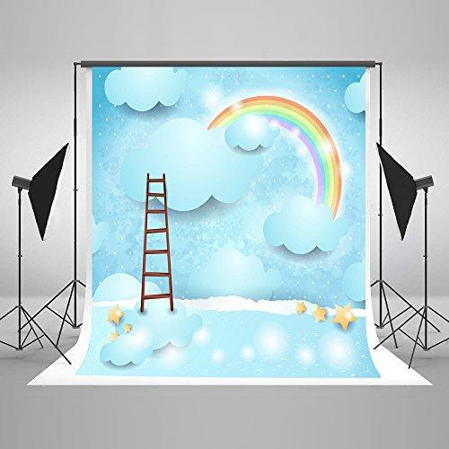 Kate 5×7ft(1.5×2.2m) Arco Iris Azul Telón de Fondo de la Fotografía Nubes con Escalera Fondo Foto Accesorios de Estudio para Niños Bebé Niños Fiesta de Cumpleaños Fotografía