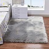 Woll Ledersofa Teppichboden Matte Wohnzimmer Schlafzimmer Lange Decke Teppich,Gray,100Cm×180Cm