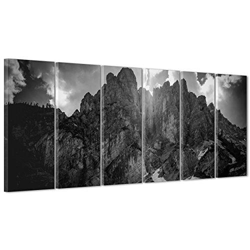 ConKrea Bild auf Leinwand Canvas-Gerahmt-fertig zum Aufhängen-Berge Ansel Adams Weiß und Schwarz-Landschaft Natur Panorama 190x70cm -