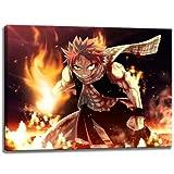 Fairytail, Natsu Motiv auf Leinwand im Format: 100x70 cm. Hochwertiger Kunstdruck als Wandbild. Billiger als ein Ölbild! ACHTUNG KEIN Poster oder Plakat!