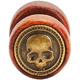 BlackAmazement - Finto plug in acciaio inossidabile 316L e legno, teschio, marrone/argento, gotico, biker, uomo e donna