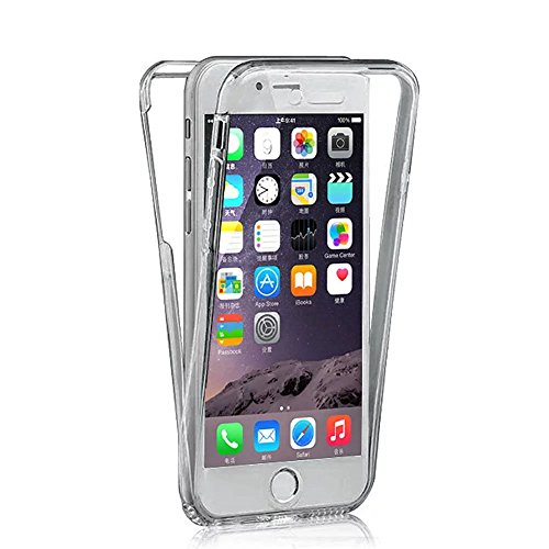 iPhone 6S Plus Hülle, iPhone 6 Plus Hülle, MOMDAD Beidseitiger 360°Full Body Schutzhülle für iPhone 6S Plus / 6 Plus Double Case Cover Telefonkasten Touchscreen TPU Silikon Transparent Front Back Schu QB-Schwarz