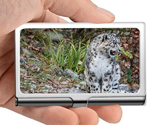 Visitenkarteninhaber-Geldbörse, weißer Leopard sitzend Kreditkarte ID-Etui/Inhaber