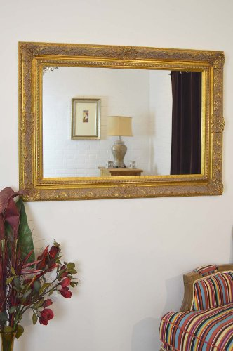 Large Antique Gold Ornate Embossed Shabby Chic Framed BEVELLED Wall / Overmantle Mirror 46inch x 34inch (117cm x 86cm) Stunning Quality - Ready to Hang - ITV Show Supplier