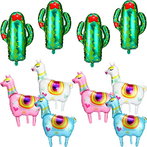 Gejoy Lama Dekorative Ballon Sets, 10 Stück Insgesamt, Einschließlich 6 Stück 36 Zoll Lama Folien Ballons und 4 Stücke 29 Zoll Grün Kaktus Ballons für Geburtstag Party Lieferungen (Ballons Uk Halloween)