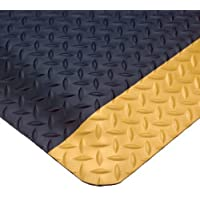 """Wearwell PVC 414 UltraSoft Diamond-Plate Heavy Duty Anti-Fatigue Mat, Safety Beveled Edges, for Dry Areas, 3' Width x 5' Length x 15/16"""" Thickness, Black / Yellow by Wearwell Industrial"""