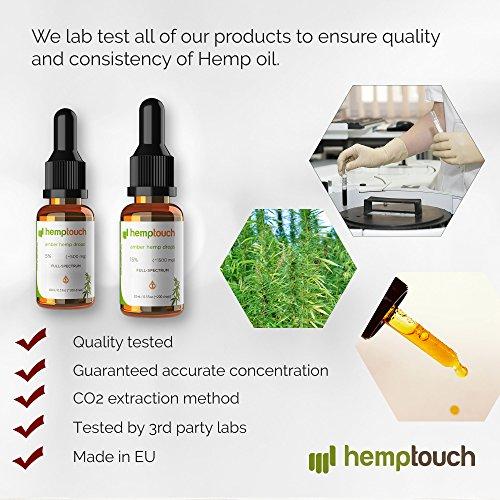 Hemp Oil Drops 5% – 500mg, 10ml Amber Hemp Drops Full Spectrum – Co2 Extraction – Organic Calming Hemp Lotion – Raw, Calming, Vegan, Natural from HempTouch