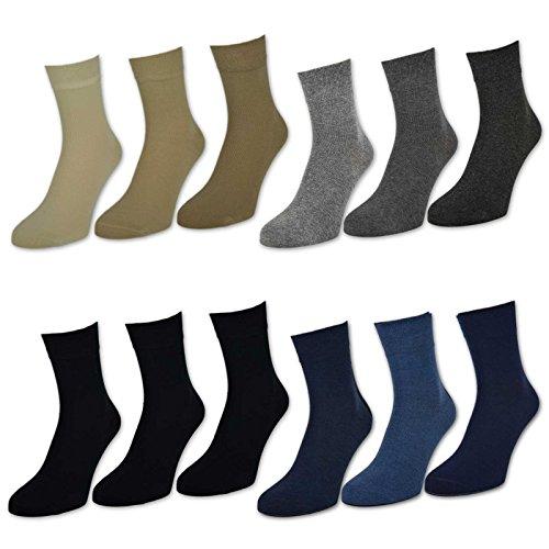 sockenkauf24 Herren Kurzschaft Socken 6 oder 12 Paar versch. Farben - 32029 (39-42, 6 Paar | Schwarz)