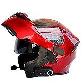 Caschi Moto modulari Bluetooth + FM DOT Certification Flip Up Touring Caschi Auricolare Bluetooth Dual-Speaker Integrato con Microfono per Risposta Automatica M-L59CM ~ 60CM,Red,M