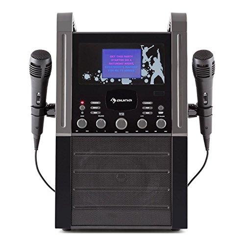 auna KA8P-V2 BK • Karaoke Anlage • Kinder Karaoke Player • Karaoke Set • 3,5 Zoll TFT-Display • 2 x dynamisches Mikrofon • integierter Lautsprecher • Video-Ausgang • CD+G-Player • CD-Player • MP3-fähig • Echo Effekt • A.V.C. Funktion • AUX-Eingang • schwarz - 3