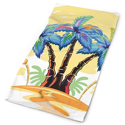 Headwear Headband Head Scarf Wrap Sweatband,Cartoon Tropical Island With Hawaiian Palm Trees Torch Seagulls At Sunset,Sport Headscarves For Men Women - Torch-deck