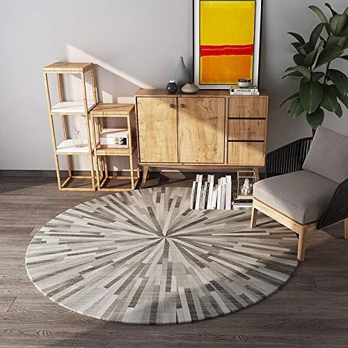 CMwardrobe Moderner Teppich Wohnzimmer Schlafzimmer Area Rug Rundes Brown-Diamant-Muster Kurzflor Designer Home Dekorative Diameter 160CM -