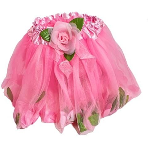 Pink Rose Petal Ballerina Tutu With Floating Petals in Tulle
