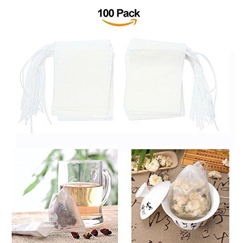 Anokay 100 Bustine da Tè in Tessuto Monouso - Infusore per Tè e Tisane Usa e Getta Confezione 100