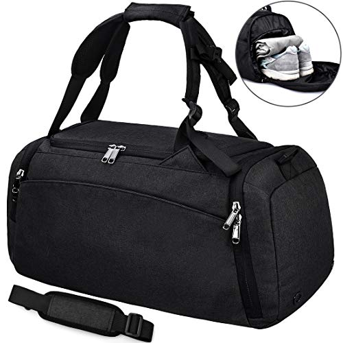 f89e74638676 NEWHEY Sports Gym Duffel Bag with Shoe Compartment Waterproof Travel  Holdall Large Sport Duffle Bag for