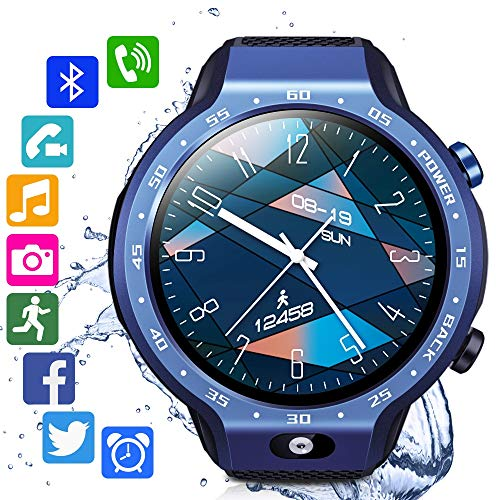 RENYAYA Sistemas Dobles 4G Sim Smart Watch Android 7.1 1,39 Pulgadas 454 * 454 Pantalla 5MP Cámara Frontal 600Mah Batería GPS WiFi rastreador de Fitness Hombres,Azul