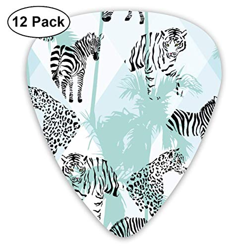 Jungle Zebra Tiger Lion Panther 351 Shape Classic Celluloid Guitar Pick For Electric Acoustic Mandolin Bass (12 Count)