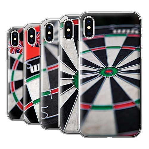 Stuff4 Gel TPU Hülle / Case für Apple iPhone X/10 / Dartflug Muster / Darts Foto Kollektion Pack 7pcs
