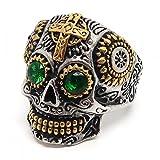 BOBIJOO Jewelry - Ring Siegelring Mann Totenkopf Biker Maya-Goldenen Kreuz-Stahl-Gold-Silber-Grün - 18,5 (8 US), Edelstahl 316