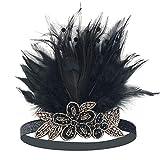 1920s Headband,1920s Headpiece - KQueenStar 1920s Sequins Headpiece Vintage Flapper Headband Peacock Feather Headband 1920 Accessories,Black