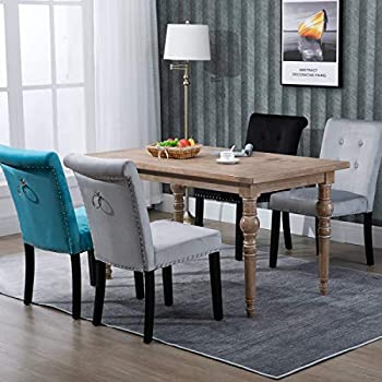 Hironpal Grey Velvet Dining Chairs Set of 4 Fabric Upholstered Padding Wood Chairs with Knocker Back Button Tufting Nailhead Trim Accent Chair for Kitchen and Commercial Restaurant (light grey-2)