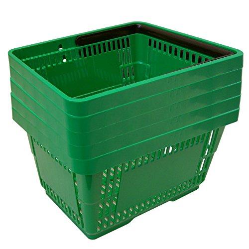 5 Einkaufskörbe aus Kunststoff Plastik mit Henkel 20 Liter 40cm stapelbar grün -