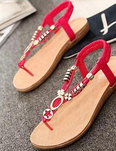 UWSZZ IL Sandali eleganti comfort Scarpe Donna-Sandali-Casual-Aperta-Piatto-Finta pelle-Nero / Blu / Rosso / Bianco White