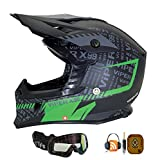 MOTOCROSSHELM VIPER RSX99 STEREO MIT BUILT IN SPEAKERS MX ENDURO QUADHELM MIT BRILLE GRÜN (M)