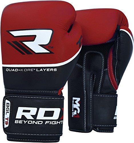 RDX Boxhandschuhe Rindsleder Quad-Kore Pro T9, rot, 16 oz, BGL-T9R-16OZ