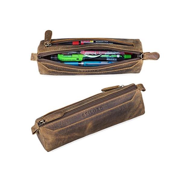 STILORD 'Jim' Estuche o Bolsa para lápices y bolígrafos de Cuero Portatodo Escolar Redondo para Hombres y Mujeres…