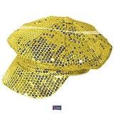 Retro-Mütze Disco mit Pailletten 30 cm Gold