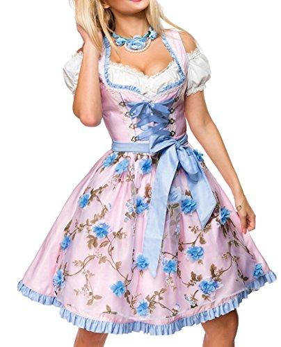 Dirndl Kleid Kostüm mit Herzausschnitt und Schnürung und Schürze aus glänzendem Stoff und Spitze Oktoberfest Dirndl blau/rosa/weiß S (Traditionelles Dirndl Kostüm)