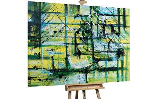 KunstLoft® XXL Gemälde 'Grüne Symphonie' 200x150cm | original handgemalte Bilder | Abstakt Grün XXL Deko | Leinwand-Bild Ölgemälde einteilig groß | Modernes Kunst Ölbild