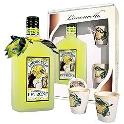 Limoncello 100% natürlich mit Keramik-Gläser von Vietri sul Mare, von Hand bemalt