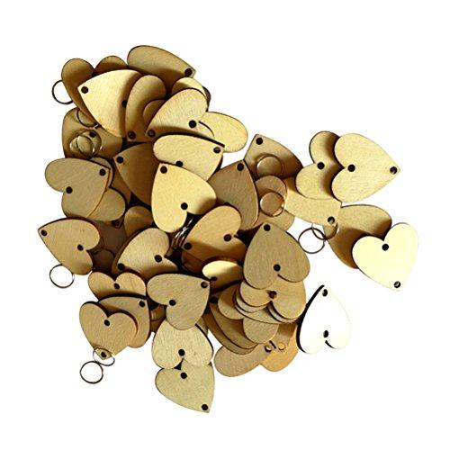 SUPVOX 100 Stücke Holz Geburtstagskalender mit 100 Metallringe Holzscheiben Holzherz Birthday Board Hängedeko Wanddeko Streudeko für Valentinstag Hochzeit Kalender Countdown DIY