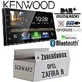 Opel Zafira B Schwarz - Autoradio Radio Kenwood DMX7018DABS -   Bluetooth   DAB+ Digitalradio   AndroidAuto   Apple CarPlay   Zubehör - Einbauset