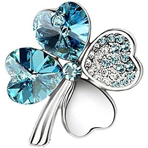 Scuola ragazza donna crystal-gifts Fashion cristallo Spilla Blu Fortunati Quattro Foglie Forma Promozione by Joyfulshine