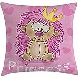Fodera per cuscino da tiro femminile, principessa incoronata e riccio con personaggi dei cartoni animati di cuori, federa, beige giallo e rosa, 45X45 cm