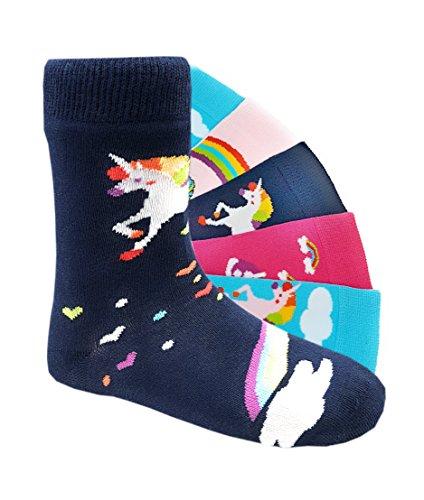 Kinder Socken handgekettelt Spitze ohne Naht 6 Paar aus besonders weicher Baumwolle bunter Mix Gr. 19-42 (35-38, Einhorn)