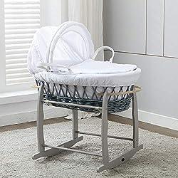 Mcc® Moisés cesta para Bebé recién nacido cesta de mimbre gris con sábanas blancas en 100% algodón Waffle y colchón (color gris)
