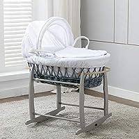 Mcc Couffin en osier gris et son support à bascule avec habillage gaufré blanc 100% coton